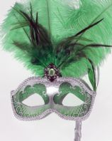 Green and Silver Feather Mask on Stick